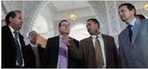 De g. à dr. : Mohammed Moussaoui , Pierre Soubelet, Abdelkrim Kamal , Maurice Vincent, lors de leur visite à la Grande Mosquée. © France Keyser