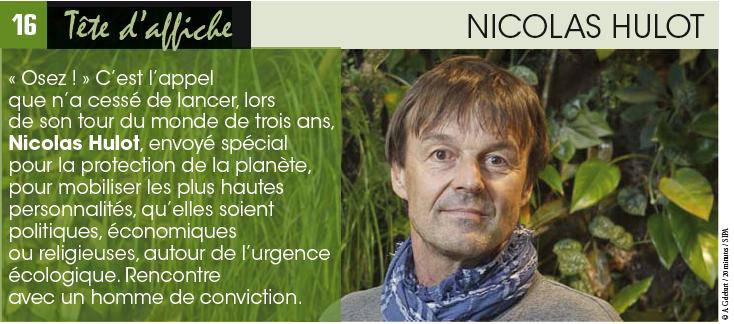 NICOLAS HULOT «Chacun doit se manifester pour changer le monde»