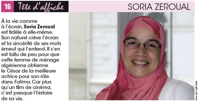 Soria Zeroual « Je dédie le César à toutes les Fatima »